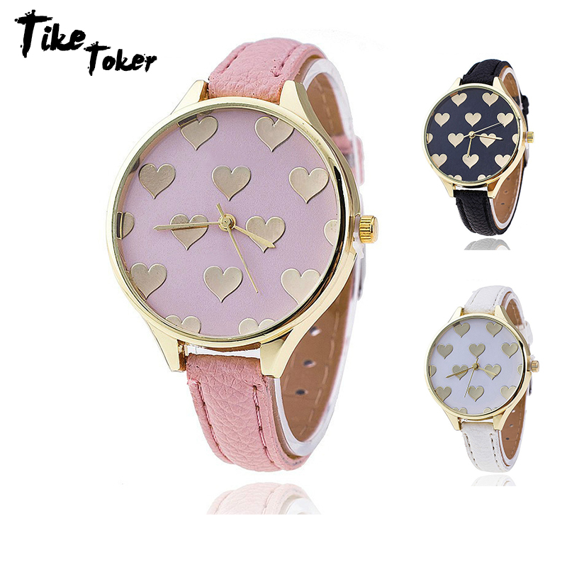 TIke Toker,Hot Fashion Leather Strap Women Watch Casual Love Heart Quartz Wrist Watch Reloj Mujer Relogio Feminino Gift