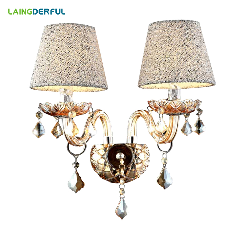 LAINGDERFUL Europe Luxurious Wall Lamps Crystal LED Inwall Lights Decorate Wall Lamp For Foyer Bedroom Lighting Decoration|LED Indoor Wall Lamps| |  - title=
