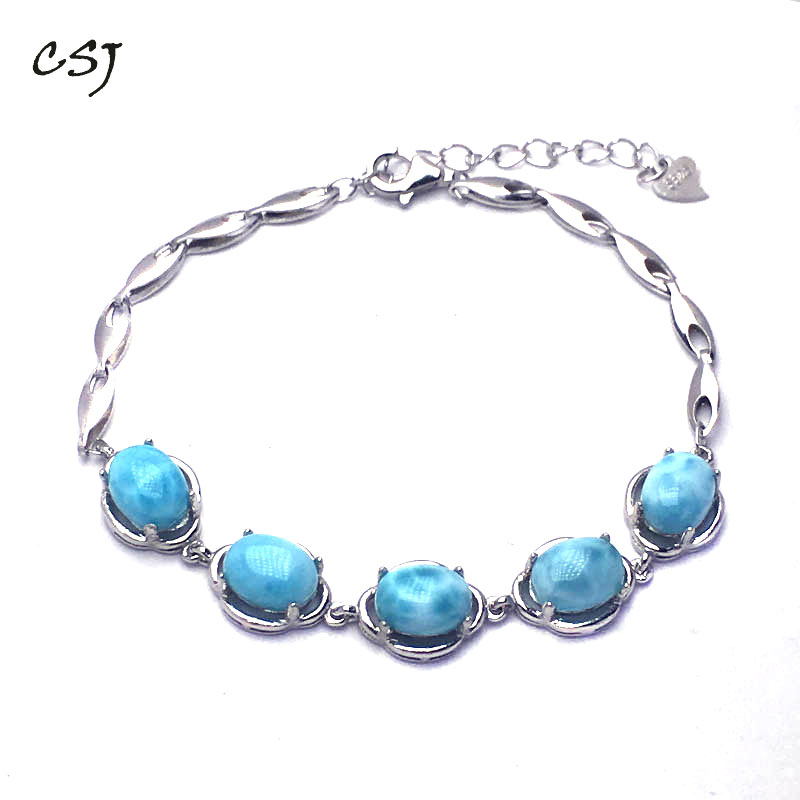 CSJ Natural Blue Larimar Bracelet Sterling 925 Silver High Quality Larimar Fine Jewelry Women Femme Wedding