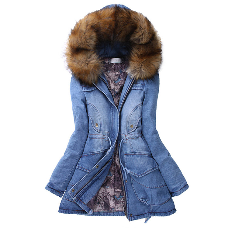 High quality thick Blue denim jacket coat Women 2019 New Winter big Fur collar Hooded   parka   female Fashion Slim Long Outwear