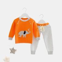 Boys Girls Knitted Cotton Sweater Pants Suits Autumn Winter Infant Warm Clothing Set Children Cartoon Outerwear Set AA12173