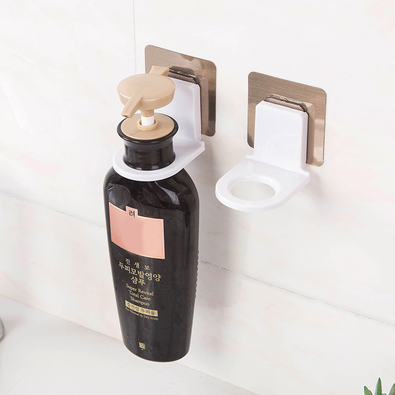1Pc Home Bathroom Shampoo Bottle Hook Adhesive Wall Hooks Magic Stickers Racks Strong Seamless Kitchen Organizer Tool Dropship