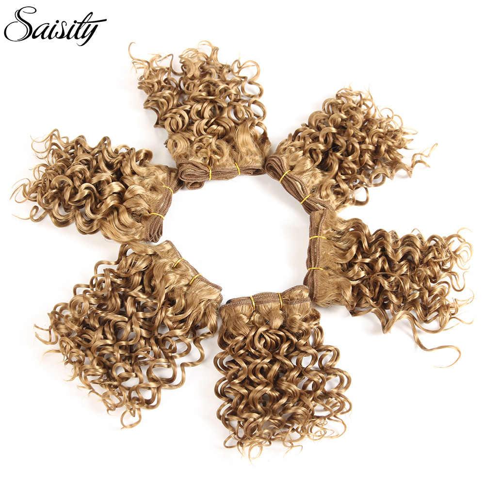 Saisity ombre haar bundels afro kinky krullend haar 6 Inch korte synthetisch haar weven afro vlechten jerry krul extension weave