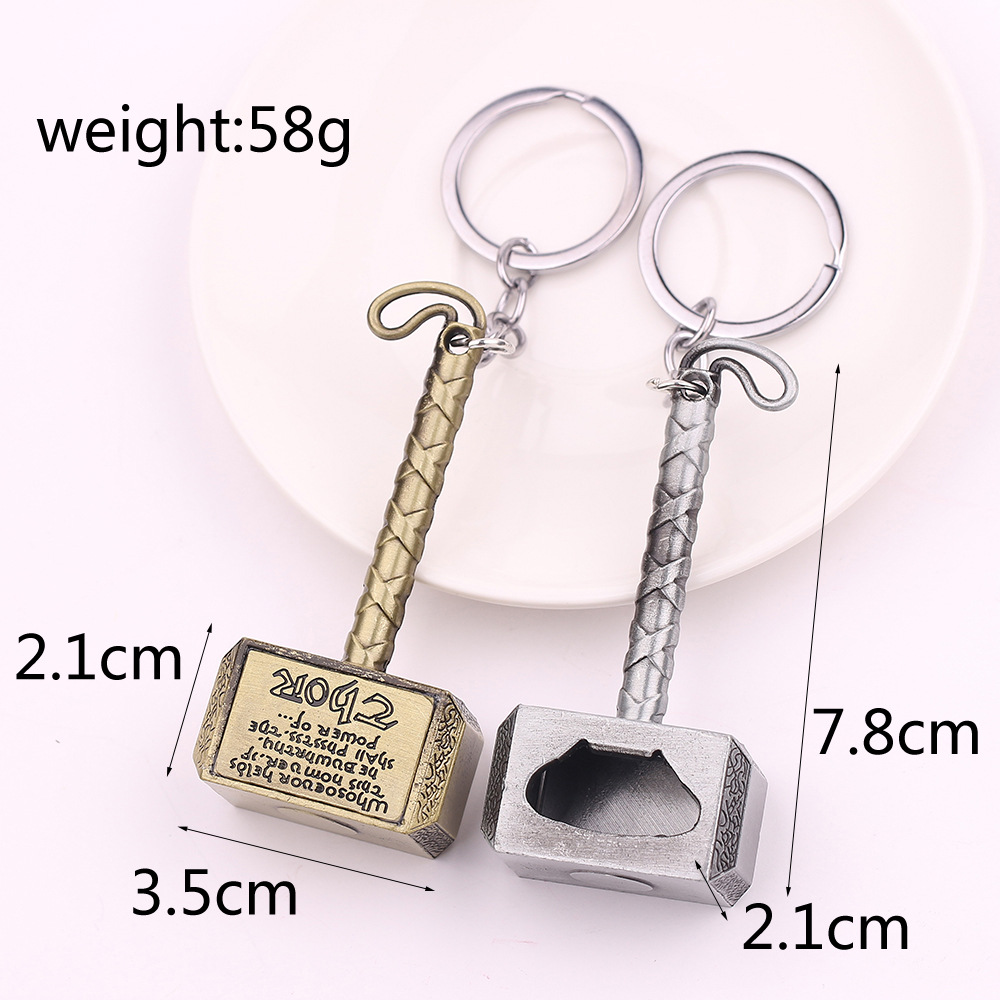 Marvel Infinity War Super Hero Avengers Thor Hammer Bottle opener keychain Collection Action Figure Toys B529 in Action Toy Figures from Toys Hobbies