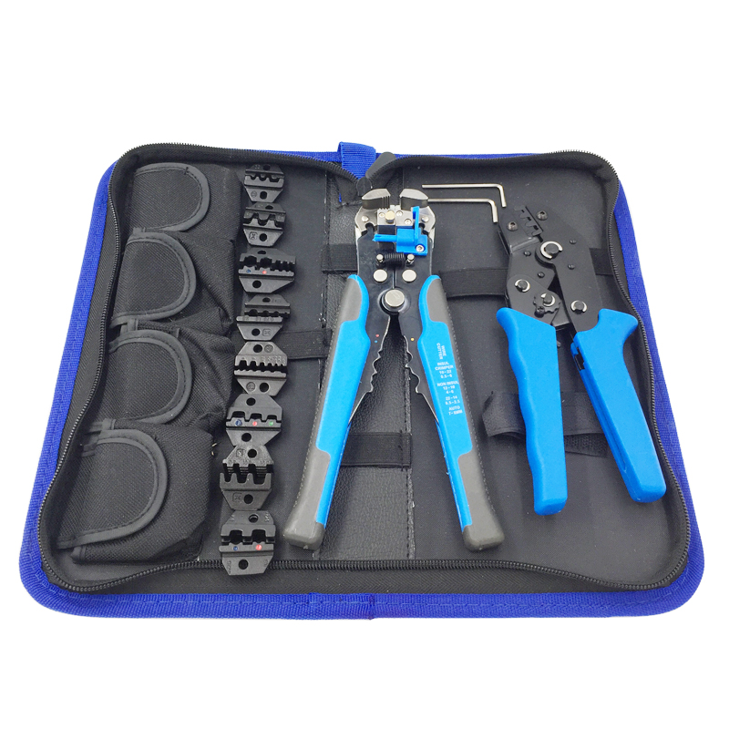 Tool crimping plier set wire cable stripping plier suit plus 8 jaw for all kinds of cold-press and sleeve terminal multitool kit multifunction ratchet s wire crimpers terminal module crimping plier press plier press pinchers crimping too l made in taiwan