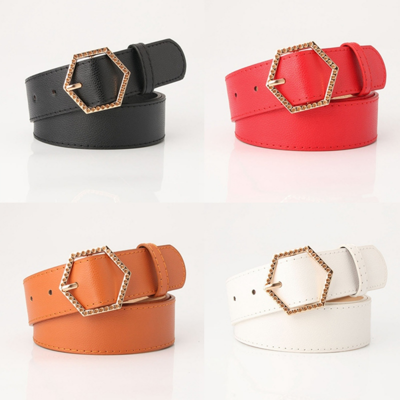 Women's new hexagonal alloy buckle imitation leather belt Fashion Korean version wild girl clothing decorative belt(China)