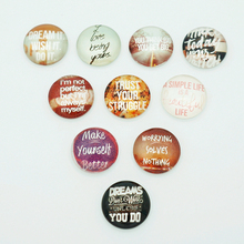 10pcs 18mm MIxed ZB0045 words and expressions Round Domes Photo Glass Cabochon snap buttons fit snap bracelets jewelry(China)