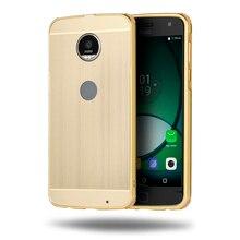 Для Motorola Moto Z Play XT1635 5.5 «случае антидетонационных Корпус Роскошные Покрытие металла Рамка и матовый PC задняя крышка телефона Coque