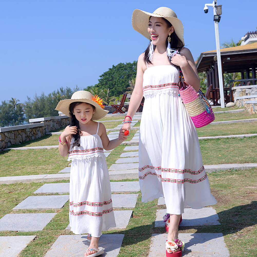 JY1888 Summer Fashion Beach Girls Dress Casual Lady Sling Dress Family Matching Outfits Clothes Mother Daughter Baby Girls Dress cheecivan family matching outfits summer fashion colorful letter print short sleeve t shirt for toddler mother one piece dress