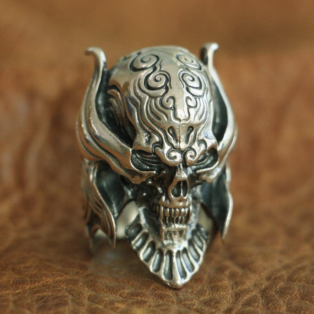 LINSION 925 Sterling Silver Vampire Skull Ring Mens Biker Punk Ring TA103 US Size 7~15 r006 7 skull shaped stylish titanium steel ring silver us size 6