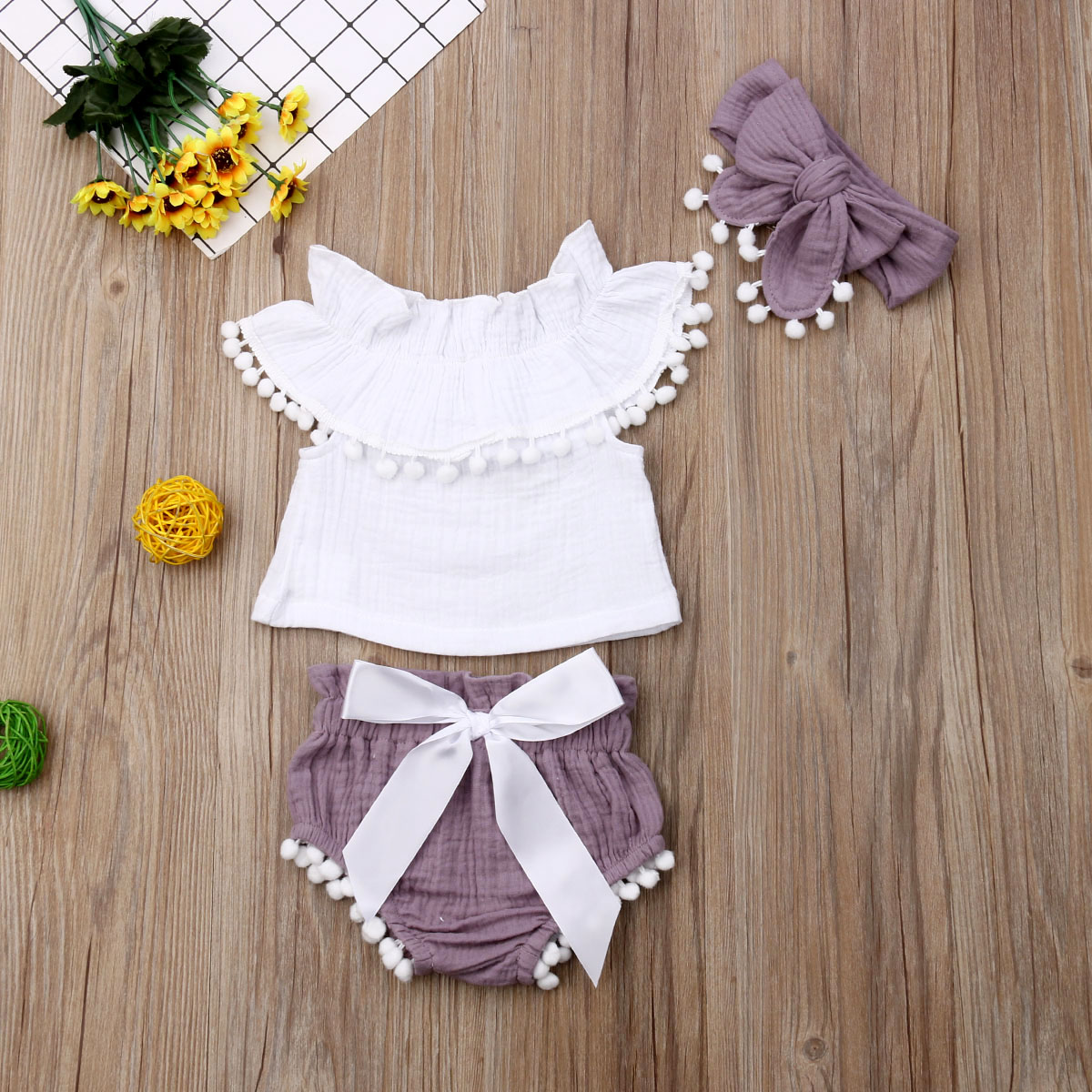 Toddler Infant Baby Girls Clothes Ruffle Tops + Shorts + Headband 3pcs Summer Cotton Linen Outfit