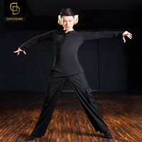 2018 men Long sleeve mens latin shirts ballroom dance shirt for men