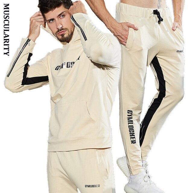 fb89b182d302b MUSCULARITY Autumn Men Set high Quality new fashion Bodybuilding Hooded  Sweatshirt + Pants Male Suits Mens Gyms Sportswear