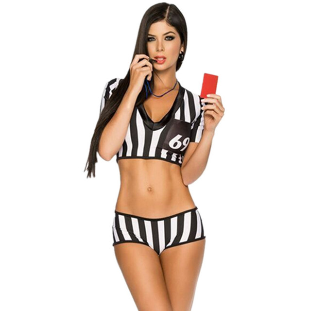 Football Baby Sexy Black White Stripe Eurocup Referee Costumes Girls Soccer  Baby Sexy Cheerleader Outfit