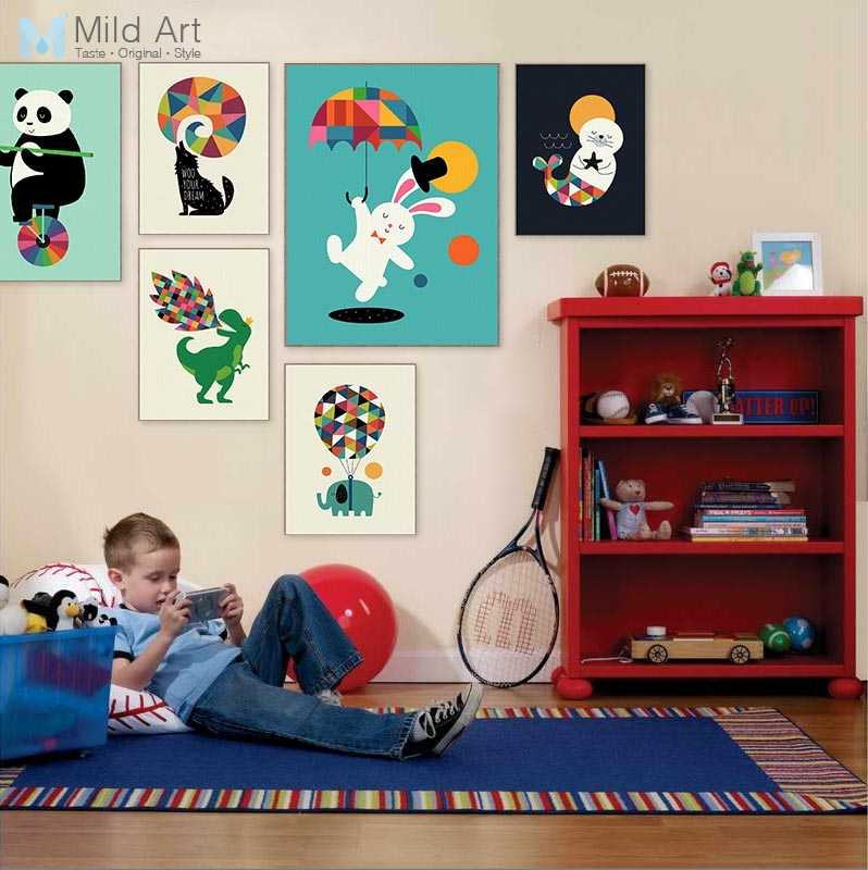 Funny Circus Animal Panda Dinosaur Acrobatics Poster Nordic Kids Baby Room Wall Art Pictures Home Decor Canvas Painting No Frame