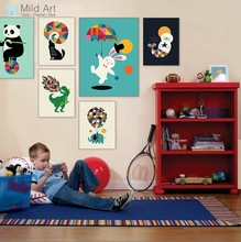 Funny Circus Animal Panda Dinosaur Acrobatics Poster Nordic Kids Baby Room Wall Art Pictures Home Decor Canvas Painting No Frame(China)