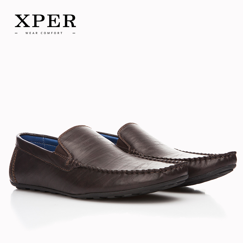 XPER Brand NEW Fashion Men Flats Shoes Hand Made Breathable Slip on Mocassins Men Loafers Brown