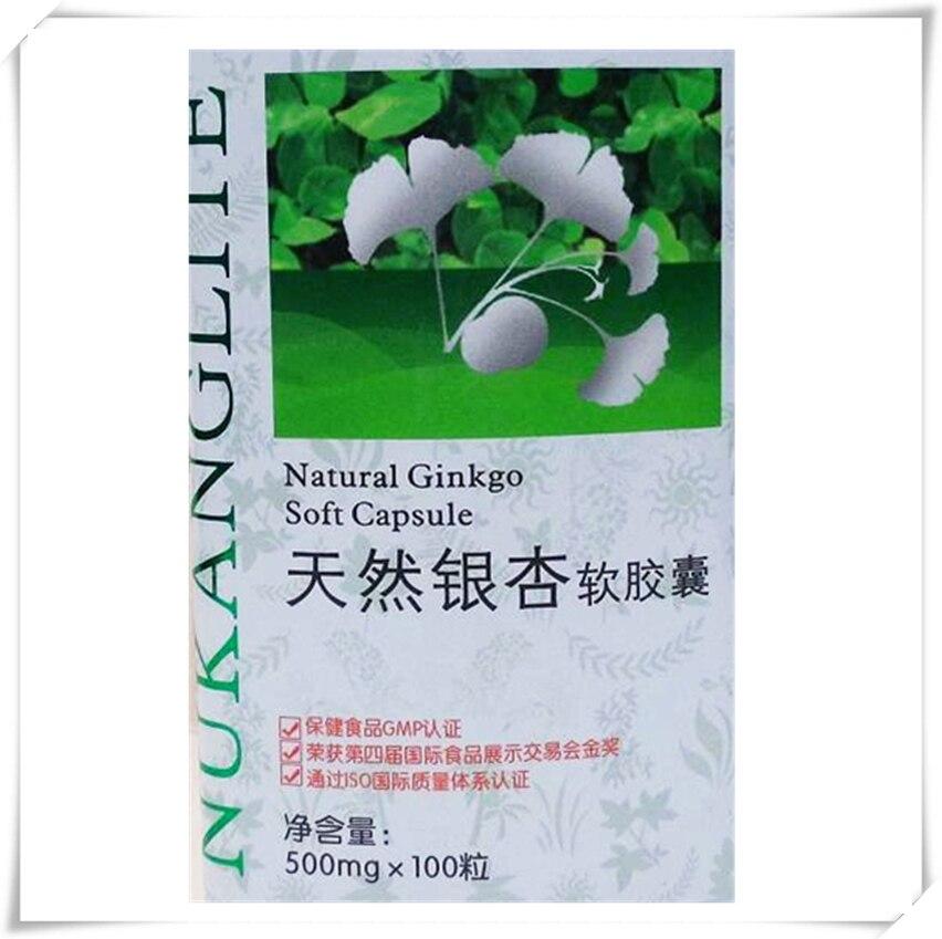 Ginkgo Biloba Standardized Extract Nature Gingko biloba lowers blood pressure, 500mg*100 pcs/bottle free shipping