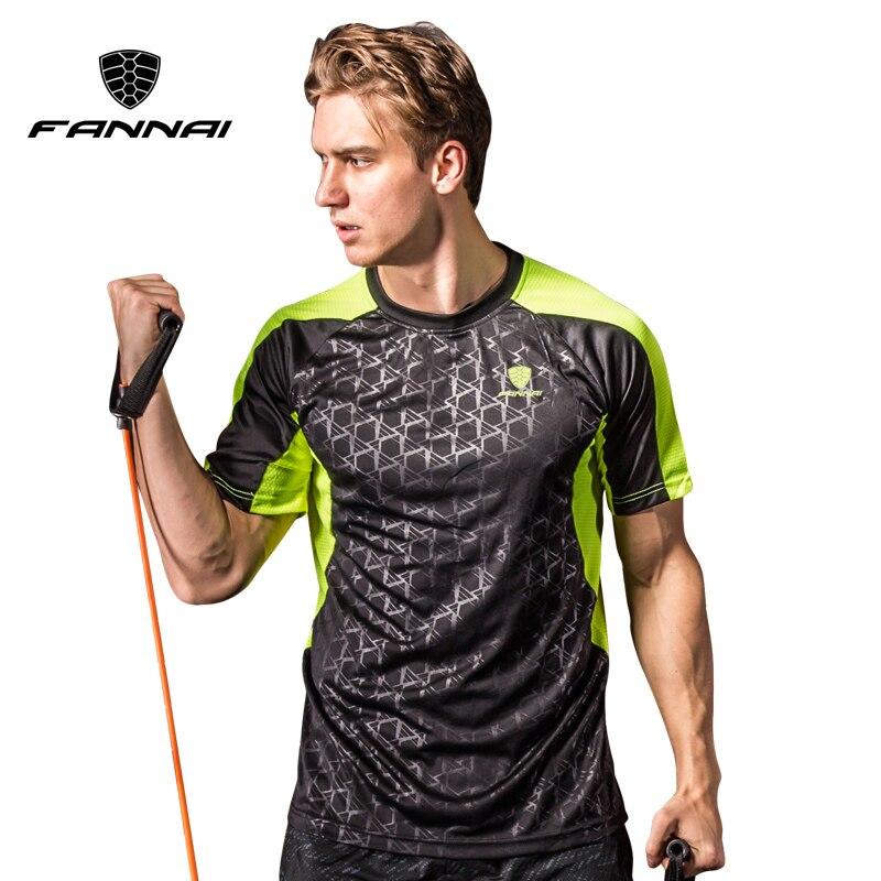 FANNAI Для мужчин бадминтон рубашка спорта на открытом воздухе О-образным вырезом быстросохнущая дышащий Run теннис мужской футболки с коротки...