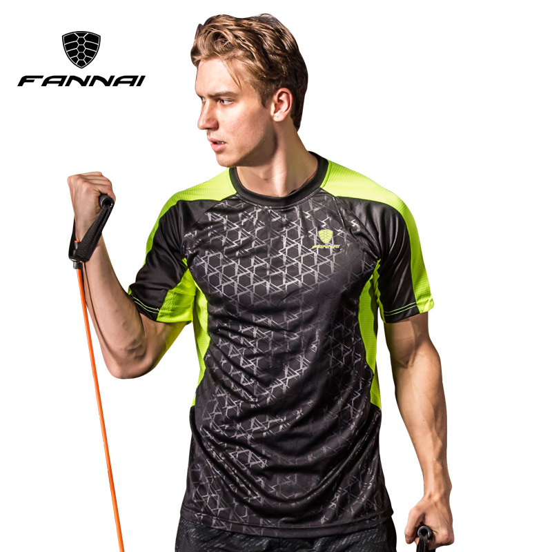 FANNAI Men Badminton Shirt Outdoor sports O-neck Quick Dry Breathable Run Tennis male Short sleeve t shirts tops tees clothing