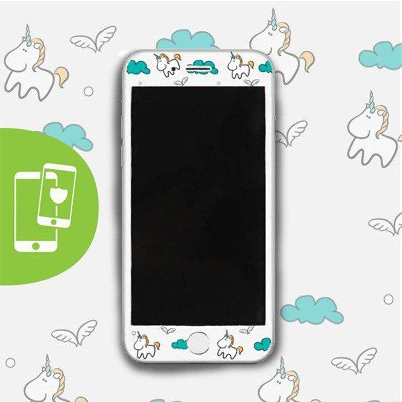 Galleria fotografica DIFFRBEAUTY Unicorn Cartoon Cute Pattern 3D Edge 9H Hardness Tempered Glass Films for iPhone 6 6S 7 Plus Anti Fingerprint HD