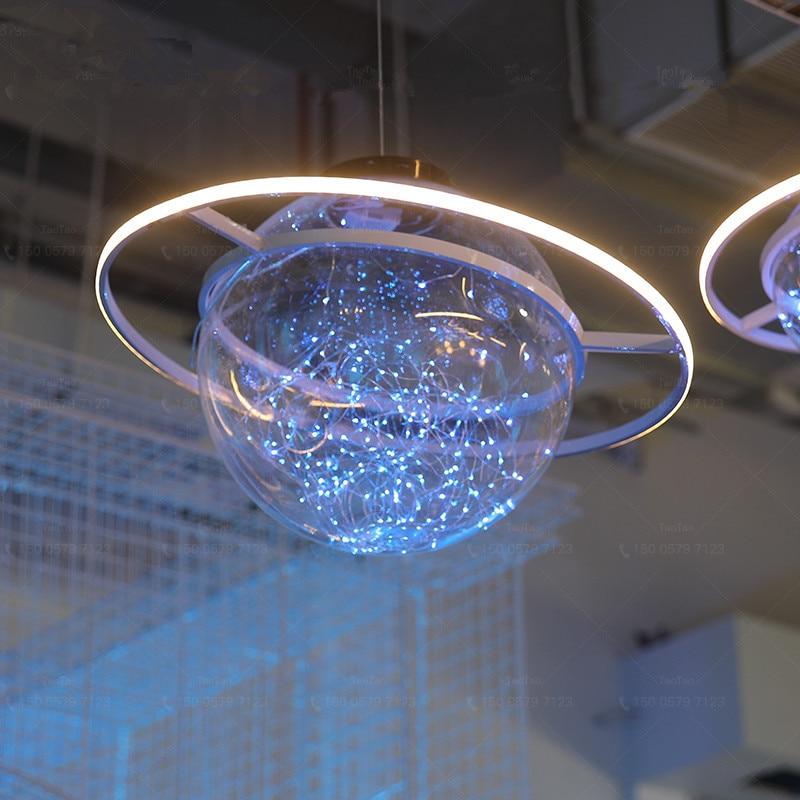 Nueva llegada brillante LED Flash estrella boda escaparate decoración espacio planeta colgante araña de adorno envío gratis