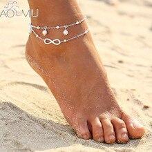 44a11bb9464b AOMU Vintage plata Color 8 forma Bohemia verano descalzo sandalia cadena  tobillera para las mujeres pulsera cheville Foot joyerí.