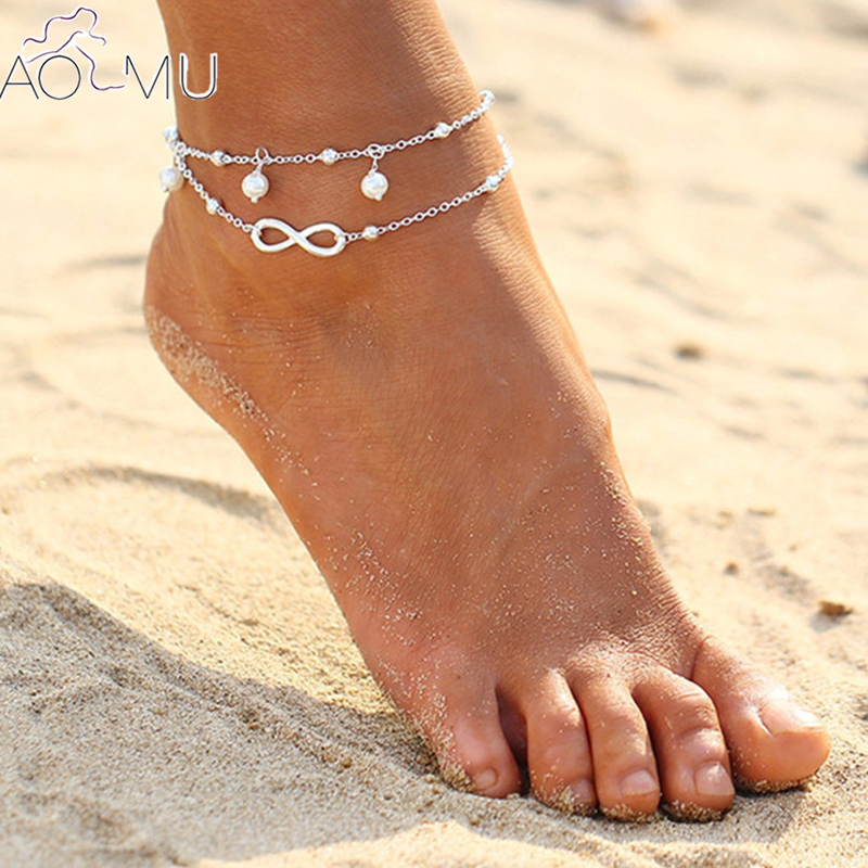 AOMU Vintage Silver Color 8 Shape Beads Bohemian Summer Barefoot Sandal Chain Anklet for Women Bracelet cheville Foot Jewelry