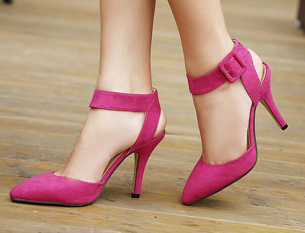 5258ba5153a07a Concise black suede ankle strap high heel sandals women designer sandals  fuchsia shoes 10.5cm size 34 to 39