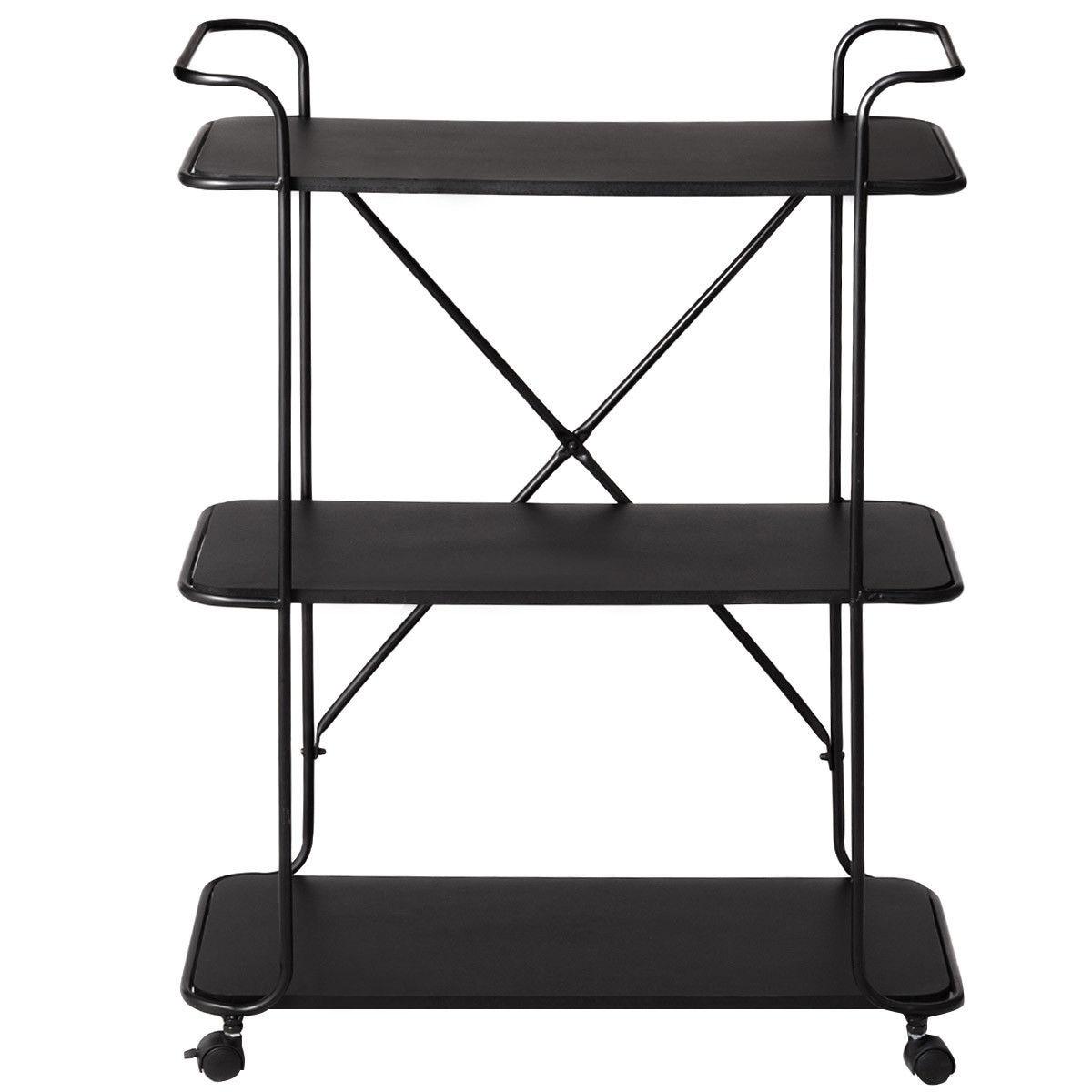 Giantex 3 Tier Metal Portable Rolling Cart Storage Rack Living Room Bookshelf Display Utility Organizer HW56050BK In Bookcases From Furniture On