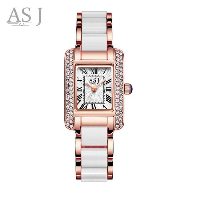 ASJ Top Brand Luxury Gold Women Watches Rhinestone Rome Clock Simulated Ceramic