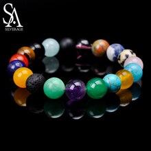 SA SILVERAGE 10mm Natural Agate Stone Combination Beaded Bracelet Hand-woven Energy for Men Women Strand