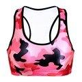 Women  Wire Free Bra Red Camouflage  Print TopTanks Push Up Brassiere Women's Underwear Seamless  Wide Back Bra Undies
