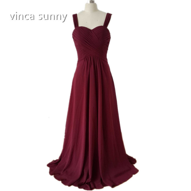 vinca sunny 2018 Wide Straps Sweetheart Burgundy Chiffon Long Bridesmaid  Dress vestido de festa de casamento a48f53459562