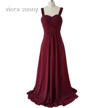 vinca sunny 2018 Wide Straps Sweetheart Burgundy Chiffon Long Bridesmaid  Dress vestido de festa de casamento eae20a173701
