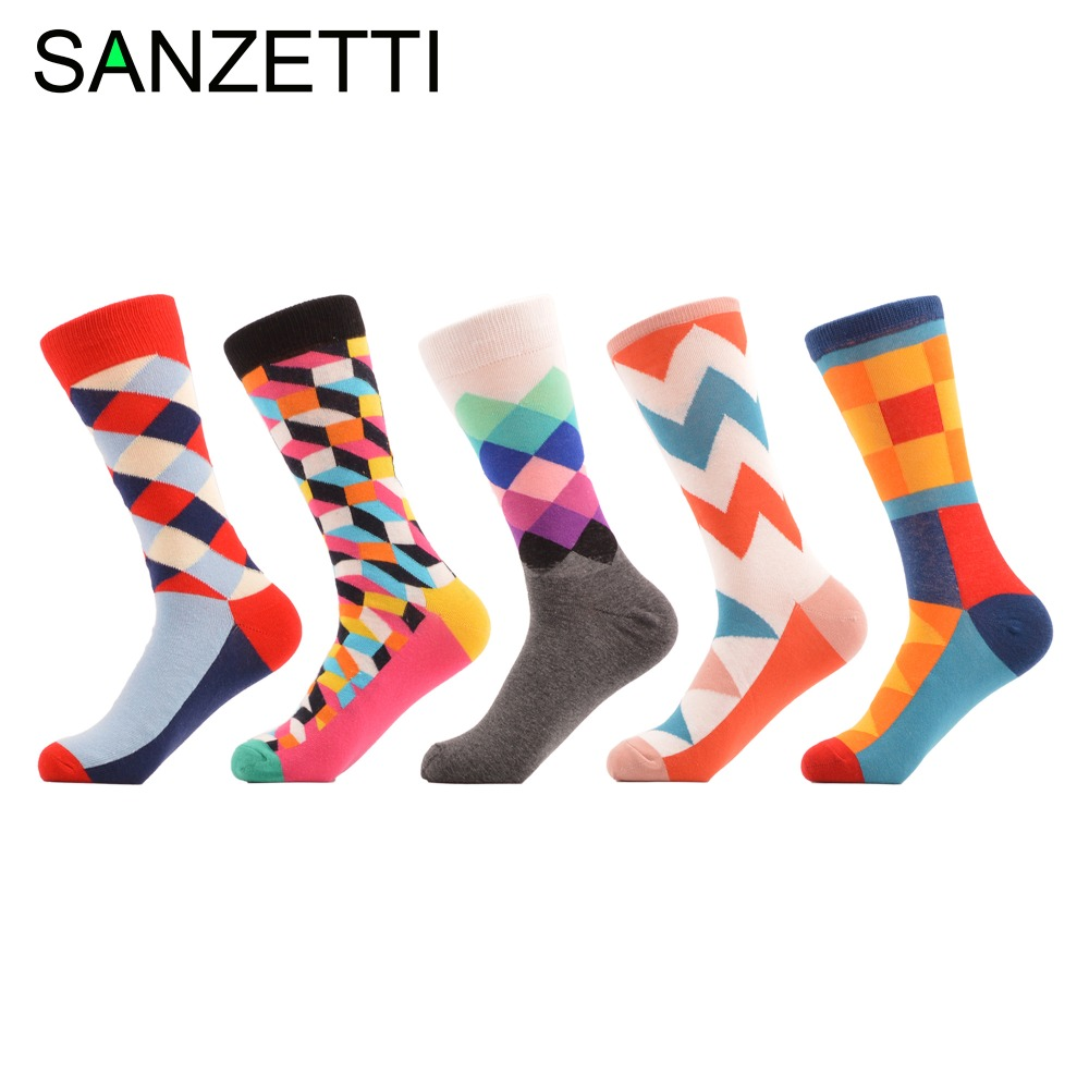 SANZETTI 5 Pairs/Lot Women Colorful Diamond Pattern Combed Cotton Fashion Party   Socks   Funny Ladies Casual   Socks   For Wedding Gift