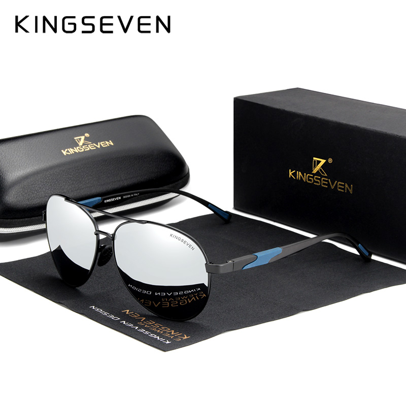 KINGSEVEN Alumínio De Design Da Marca Óculos De Sol Polarizados Lente de Alta Definição Espelho de Condução óculos de Sol óculos De Sol Gafas De Sol