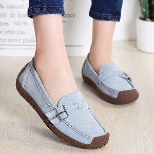 Image 5 - Zapatos de mujer Hosteven mocasines planos mocasines Oxfords barco Casual cuero genuino mujer cuero negro zapatos