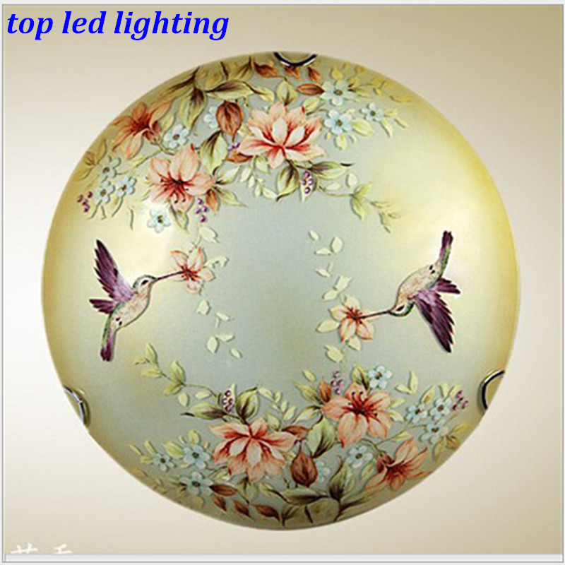 Vintage Creative Hand Painted Glass Led e27*2 Ceiling Light for Aisle Bedroom Living Room Dia 30/40/50cm AC 80-265V 1142 hand painted chinese style jingdezhen ceramic ceiling light for living room dining room aisle the entrance bulb included