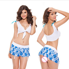 High quality blue school Naughty student uniform costume sexy girl fantasia quente hot erotic baby doll lingerie dress