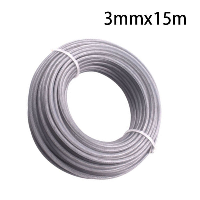 15m 49ft Strimmer Brushcutter Wire Cord Line 3mm Steel Wire Trimmer Gray Durable