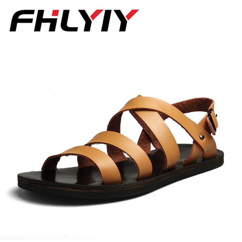 Summer Sandals Men Outdoor Breathable Slippers Leather Men Beach Casual Sandalias Men Slip On Shoes Flip-Flops Zapatos Hombre
