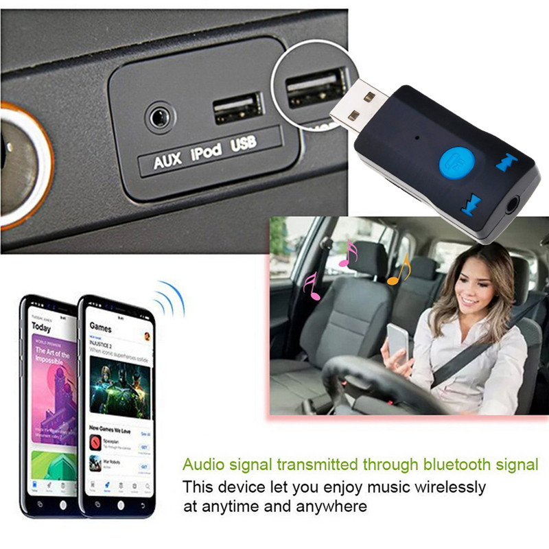 USB bluetooth audio aux receiver 3.5mm speakers music receptor For car media XU