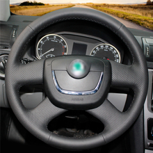 High quality Black Artificial Leather anti-slip customized car steering wheel cover For  Skoda Octavia Superb цена и фото