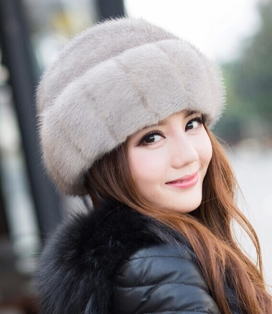 Top Fashion 2016 Female Winter Casual Solid Hats Crescent Curved Mink Fur Hat For Women Free Shipping