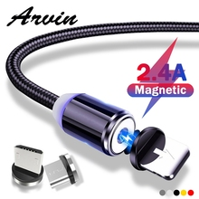 Arvin Magnetic Cable Micro USB Type C Charger Fast Charging For iPhone XS X XR 8 7 Samsung S8 Magnet Android Phone Cord 1m