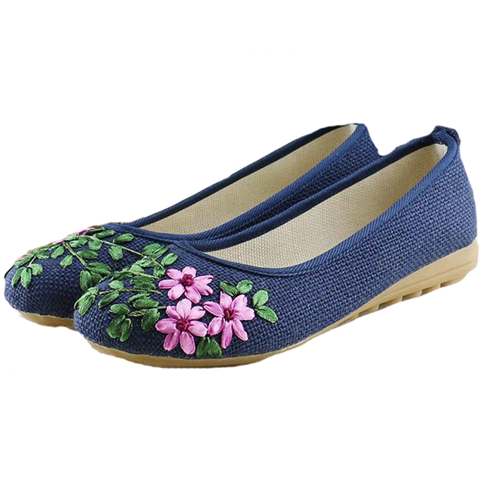 Vintage Women Shoes Flats Slip On Casual Comfortable Cotton Fabric Linen Ballerina Embroidery Shoes Woman Zapatos De Mujer free shipping wholesale price 30m a lot high quality l amy green matte vinyl car wrap film car sticker with bubble free bw 9013