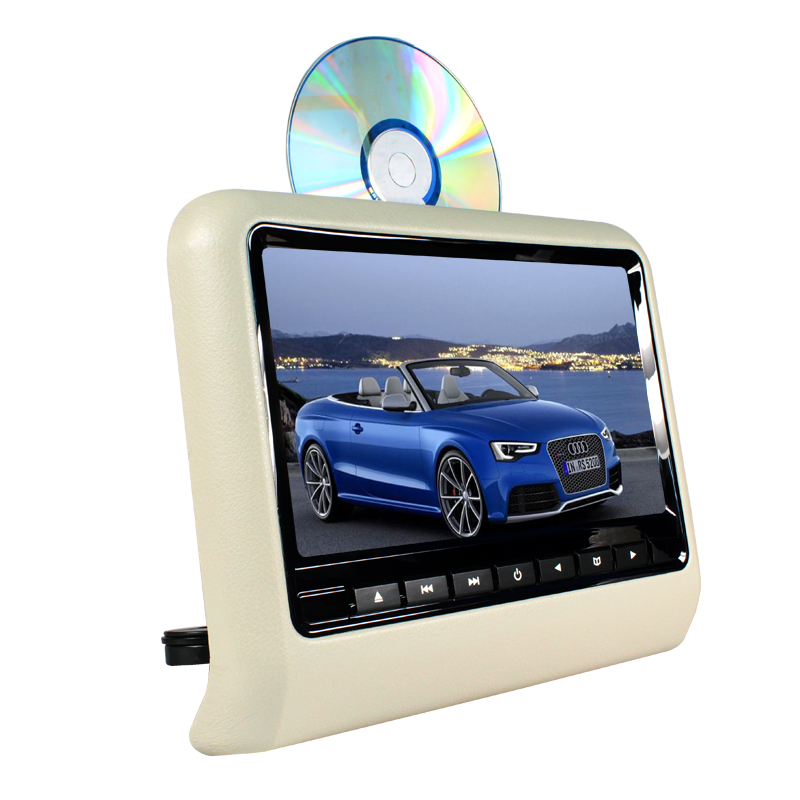 9 inch TFT LED Screen Headrest monitor Car DVD Player & Game DVD USB SD IR Transmitter Portable Headrest Monitor SH9808DVD Gray