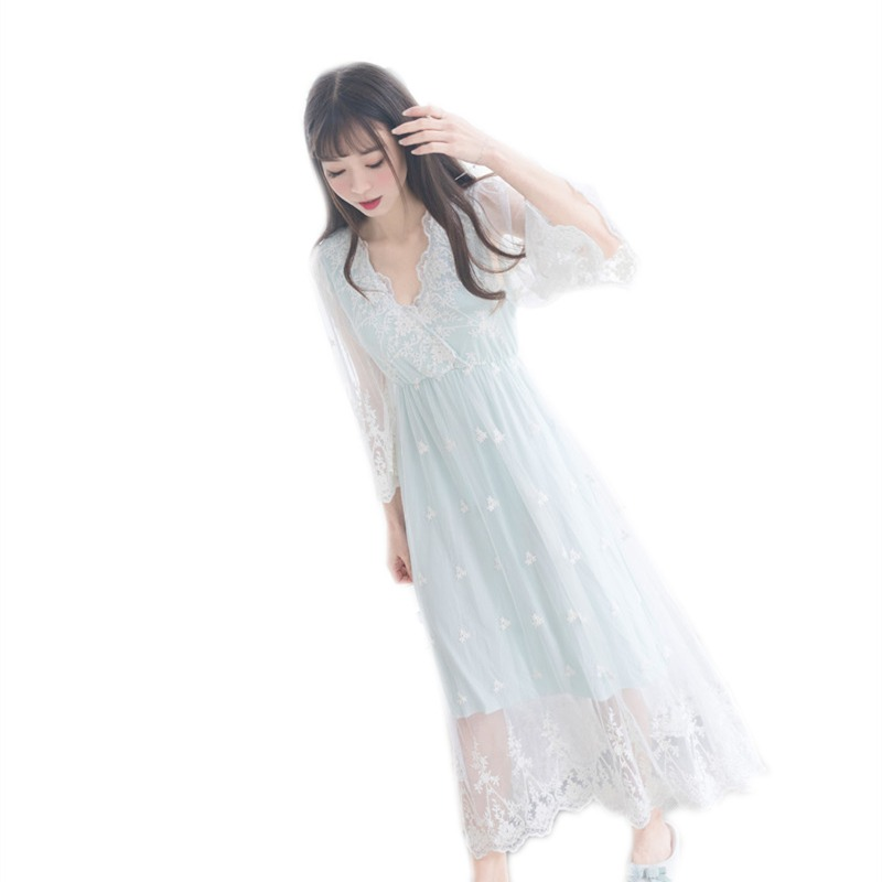 bcfd95763 Nightgowns Sleepshirt 2019 Lace Sleepwear Vintage Nightdress Indoor ...