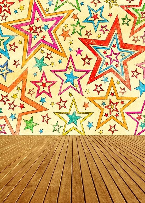 ộ_ộ ༽Paño de vinilo personalizado patrón de estrellas de color ...